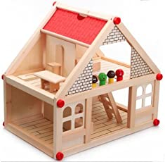 Toyshine Wooden Doll House Toy with Double Storey, Accessories