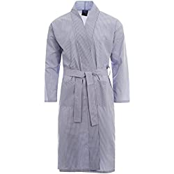 Herren Morgenmantel Bademantel Gewickelt Hausanzug Leicht Baumwoll-polyester Kleider M - XXL - blaue streifen, X-Large