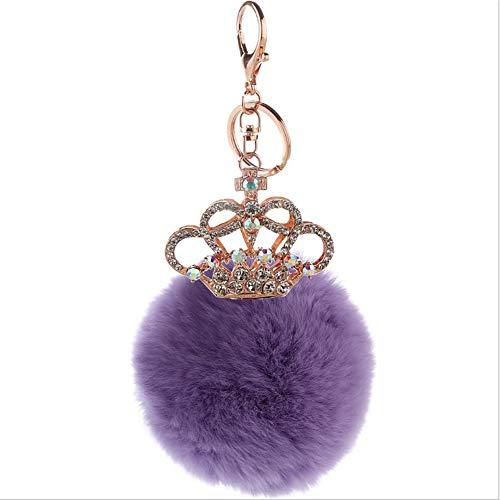 rationen Geschenk Crown Design Furball Keychain mit Strass Pompom Bag Charms Anhänger Kristall Autoschlüssel Schlüsselanhänger Zubehör für Frauen Mädchen Handtasche Handtasche Tote ()