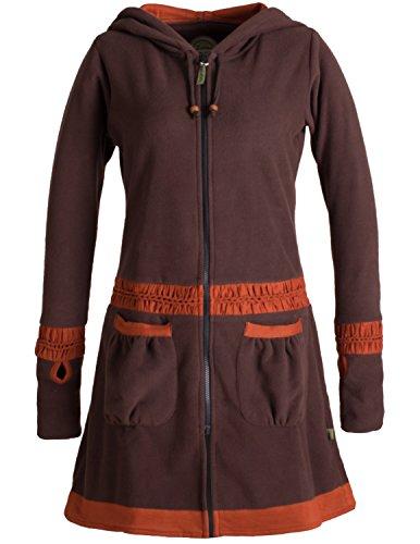 Vishes - Alternative Bekleidung - Langer Fleecemantel mit Handstulpen, Daumenlöchern und extra großer Cape Kapuze Braun 42