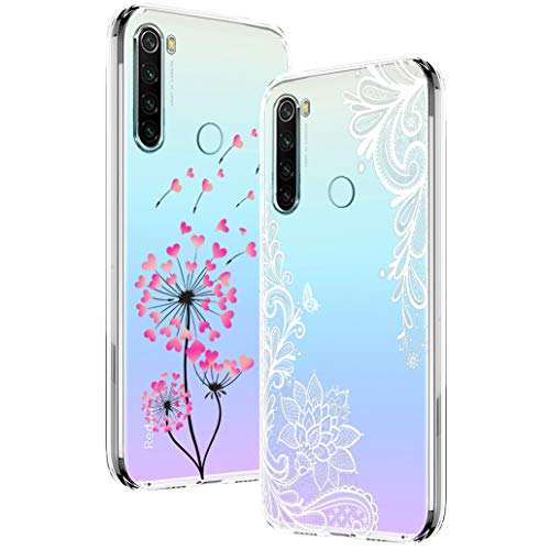 Yoowei [2-Pack] Funda para Xiaomi Redmi Note 8, Transparente con Dibujos Ultra Fino Suave TPU Silicona Protector Carcasa para Xiaomi Redmi Note 8 (Diente de Leon y La Mandala Flor)