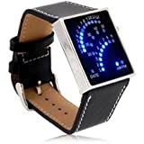 Blue LED Display Watch - Curved Fan Display of Lights