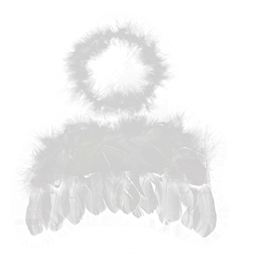 Kinder Halo 3 Kostüme (SODIAL(R) 0-6 Monate Engel Feder Fluegel Baby Cupido Requisiten kostenlos)
