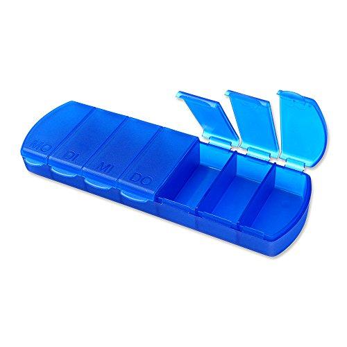Schramm® Tablettenbox blau 11x4x1,5cm Pillen Tabletten Box 7 Tage Schachtel Tablettendose Pillendose Pillenbox Tablettenboxen Pillendosen Pillen Dose