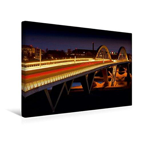 Calvendo Premium Textil-Leinwand 45 cm x 30 cm quer, Waldschlösschen Brücke | Wandbild, Bild auf Keilrahmen, Fertigbild auf echter Leinwand, Leinwanddruck Orte Orte -