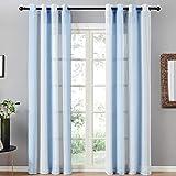Topfinel 2er Set Transparent Blau-Weiß-Streifen Voile Gardinen mit Ösen Dekoration Vorhänge Für Kinderzimmer,140x220cm