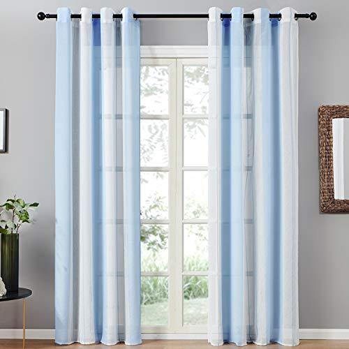 Topfinel 2er Set Transparent Blau-Weiß-Streifen Voile Gardinen mit Ösen Dekoration Vorhänge Für Kinderzimmer,140x240cm