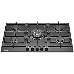 Millar GH9051TB Plaque de cuisson en Verre trempé avec 5 brûleurs à gaz Noir 90 cm/Table de Cuisson