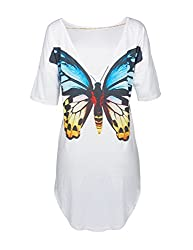 Women's Backless Peacock Eagle's Feathers / Wings Print Half Sleeve High Low Mini Shirt Dress Loose Blouse Top