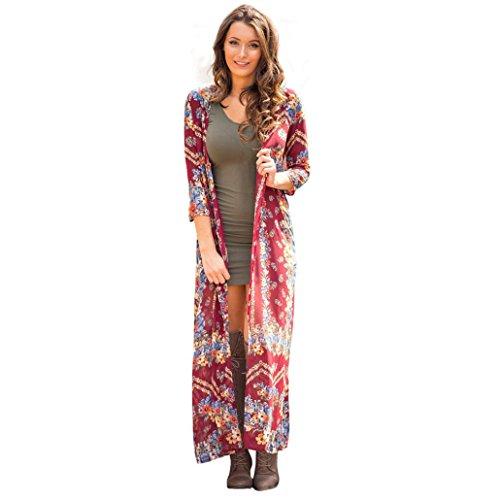 Sannysis Frauen Sommer Langer Chiffon Kimono Wolljacke Lose Schal Hemd Bluse (S, Rot) (Kimono-hemd)