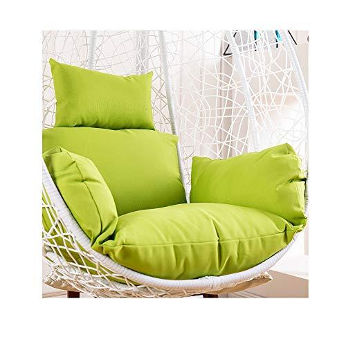SXLML Hängendes Korbstuhl Kissen,Drehsessel Coco Sit Papasansessel Round Schwenksessel Korbsessel Hundekorb Hundesessel Gartensessel Sessel,56x51 cm (22x20 Zoll) (Color : Green)