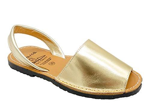 Avarca - Made In Spain - Damen Leder Sommer Sandalen - offene Echtleder Mädchen Menorca Ibiza Avarcas Slipper Sommerschuhe Strandschuhe Hausschuhe 190 matt-metallic Champagne-Gold Gr. 41