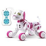 Teepao Cane Robot Telecomandato Cane Robot Elettronico con Sensore Senza Fili Ricaricabile Camminerà e Canterà Giocattolo Interattivo per Bambini Grandi Rosa
