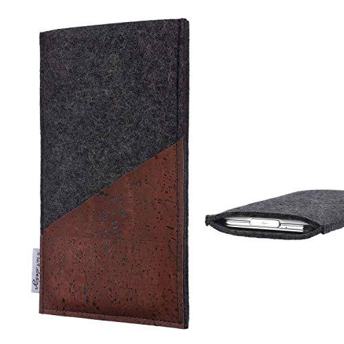 flat.design Handy Hülle Evora für Energizer P20 handgefertigte Handytasche Kork Filz Tasche Case fair dunkelgrau