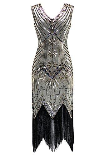 Metme Damen der 1920er Jahre V Ausschnitt Perlen Fransen Gatsby Thema Flapper Kleid für Abschlussball (V-ausschnitt Kleid)