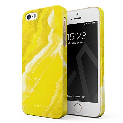 BURGA Hülle Kompatibel mit iPhone 5 / 5s / SE Handy Huelle Neon Yellow Marble Citrus Stone Gelb Marmor Zitrusfrüchte Sommer Zitrone Dünn, Robuste Rückschale aus Kunststoff Handyhülle Schutz Case Cover (Iphone 5 Case Fashion Girl)