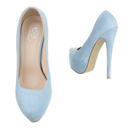 Ital-Design , chaussures compensées femme Hellblau XF73-V