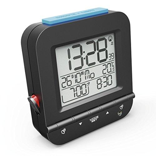 """Hama Funkwecker """"Dual Alarm"""" (digital, 2 Weckzeiten, laut, ansteigender Weckton, sensorgesteuerte Nachtlicht Funktion, Snooze, Temperatur, Datum) Wecker schwarz"""