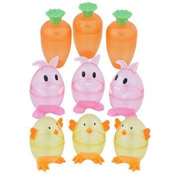BUNNY  CARROT  AND CHICK - PLASTIC SHAPED FILLABLE EASTER EGG CONTAINERS -PINK -9 CT /PACK BY GREENBRIER