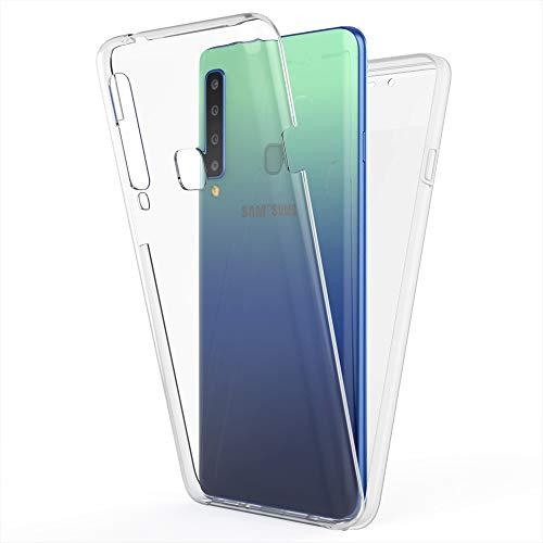 NALIA 360 Grad Handyhülle kompatibel mit Samsung Galaxy A9 2018, Full-Cover Silikon Bumper Bildschirmschutz vorne Hardcase hinten, R&um Hülle Doppel-Schutz, Dünn Ganzkörper Case, Farbe:Transparent