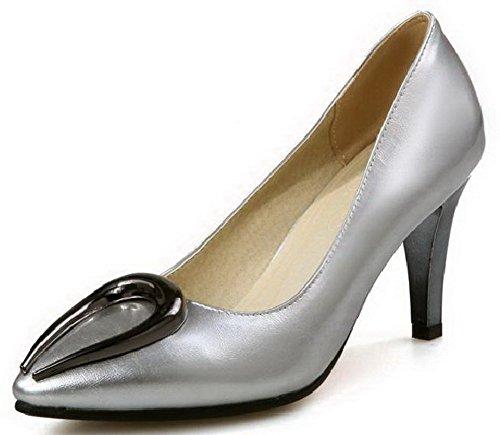 VogueZone009 Femme Stylet Couleur Unie Tire Pointu Chaussures Légeres Argent