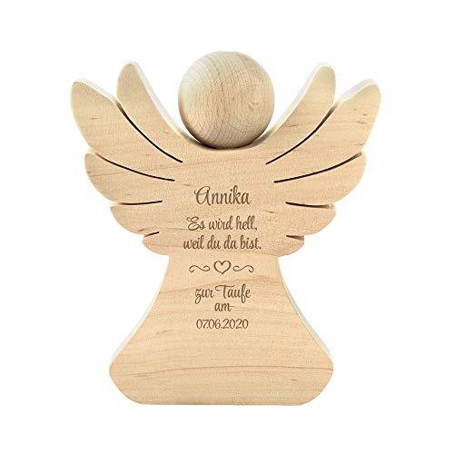 Casa Vivente Holzengel mit Gravur - Zur Taufe - Personalisiert mit Namen und Datum - Erlenholz -- Verpackung für Geldgeschenke - Geschenkidee zur Taufe