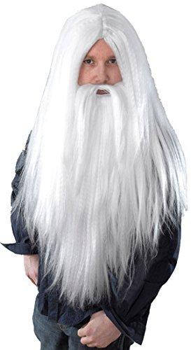 Merlin Gandalf Dumbledore Zauberer Weihnachtsparty Lange Weiß Zauberer Perücke Und Bart Set