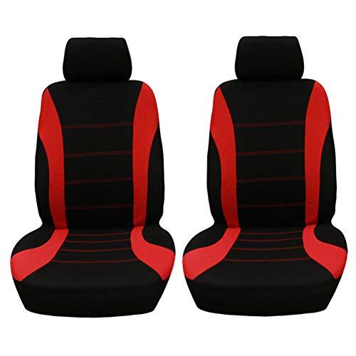 GODGETS Set Coprisedili Anteriori Auto 2 Posti Seat Cover Protezioni Universali per Auto Tessuto Poliestere,Nero Rosso,2 * Seater Anterio