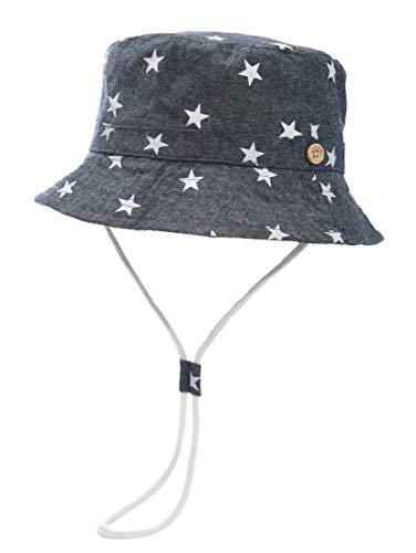 Foruhoo Baby Sonnenhut Kinder Hut, Sommerhut Mütze for Jungen Mädchen mit Verstellbar Kordelzug (52cm / 2-4 Jahre,dunkelblau) Baby-jungen-hut