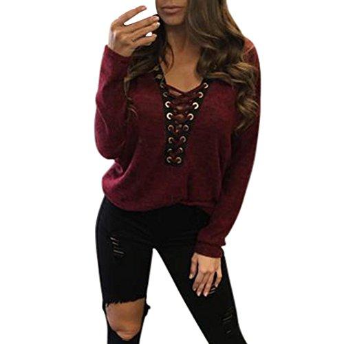 Koly_Donne Collare Bandage Bat Maglia manica della giacca (L, vino rosso)