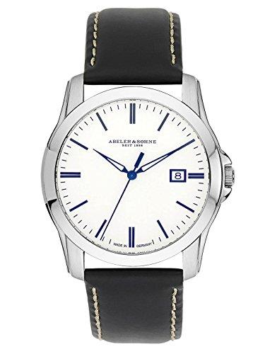 Abeler & Söhne Reloj de hombre fabricado en Alemania con cristal de zafiro, correa de piel y fecha as2005
