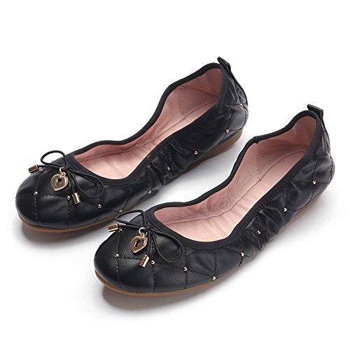 VogueZone009 Femme Matière Souple Rond à Talon Bas Tire Couleur Unie Chaussures à Plat Noir