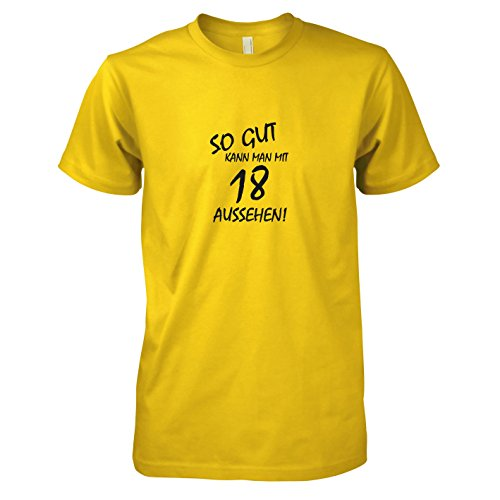 man mit 18 aussehen - Herren T-Shirt, Größe XXL, gelb (Guter Bruder Und Schwester Kostüme)