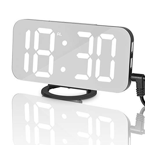 Inwee Digitale Wecker LED Große Ziffern Uhr 6,5 '' Display, 3 Helligkeitsstufen mit Dimmer, Dual-USB-Ladeports, 12/24 Stunden, Spiegelfläche, große Snooze-Taste für Kinder und Reisezeit