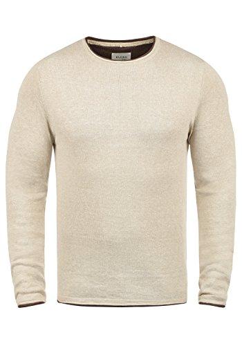 Blend Odin Herren Strickpullover Feinstrick Pullover Mit Rundhals Aus 100% Baumwolle, Größe:L, Farbe:Sand Mix (70810)