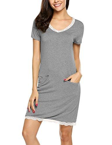 Ekouaer Damen Nachtwäsche Baumwolle Schlaf Tee Schlaf Shirt Scoopneck Kurzarm Nightgown S-XXL (Schlaf-tees Kurze)