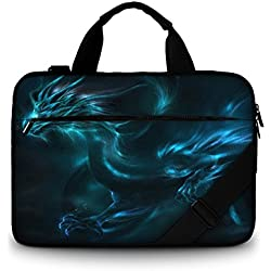 """Luxburg®-Bolso acolchado con bandolera para ordenador portátil, bolsa de hombro multifuncional 15,6 pouces Dragon """"fantasy"""""""