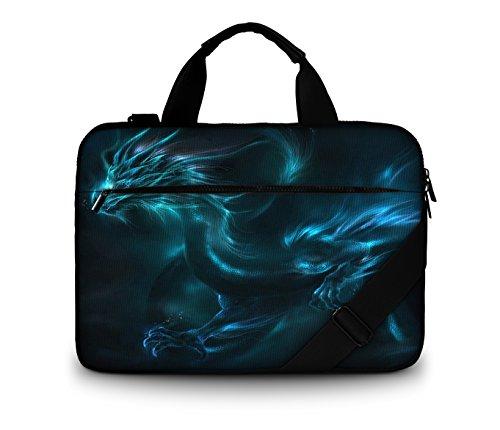 Luxburg® Design gepolsterte Business- / Laptoptasche Notebooktasche bis 15,6 Zoll mit Schultergurt, Mehrzwecktasche, Motiv: Fantasy Drache