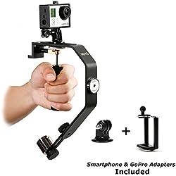 Movo Photo VS01-SP Sistema Estabilizador de Video Portátil con Contrapesos para GoPro HERO, HERO2, HERO3, HERO3+, Hero4 y Smartphones Apple iPhone 4, 4S, 5, 5S, 6, Android Samsung Galaxy S3, S4, S5, S6
