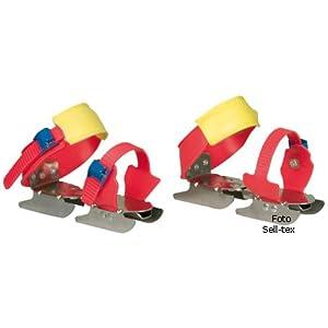 Nijdam Kinder Gleitschuhe Bob Skates verstellbar, Rot/Blau/Gelb, 24-34