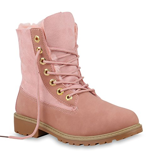 Stiefelparadies Warm Gefütterte Damen Stiefeletten Worker Boots Kunstfell Flandell Rosa Carlet