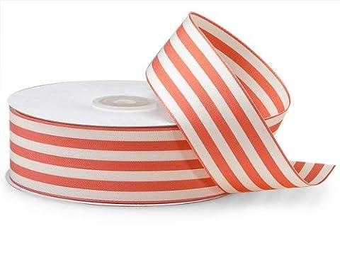 Coral Cabana Stripes Ribbon1-1/2 inch X25 Yds 100% Nylon