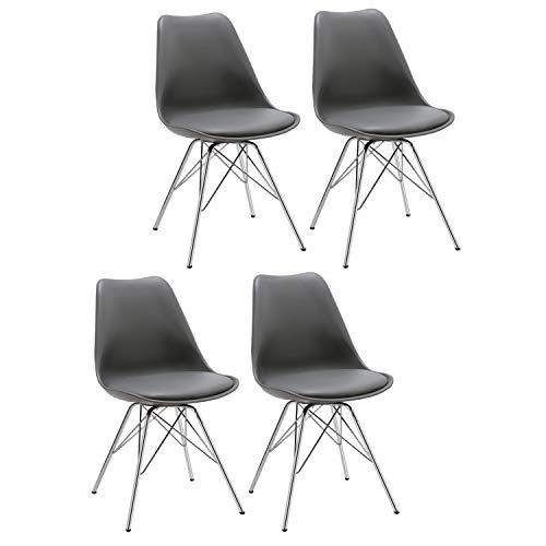 Esszimmerstuhl 2er Set Küchenstuhl Kunststoff mit Sitzkissen Stuhl Vintage Design Retro Farbauswahl 518J (4er Set Grau)