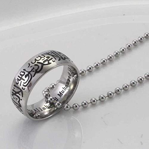 YANOAID Versilberung Muslim Allah Edelstahl Halskette, 60 cm Kette Islam Arabischen Gott Schmuck