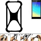 K-S-Trade Handyhülle für TP-LINK Neffos Y5S Schutz Hülle Silikon Bumper Cover Case Silikoncase TPU Softcase Schutzhülle Smartphone Stoßschutz, schwarz (1x)