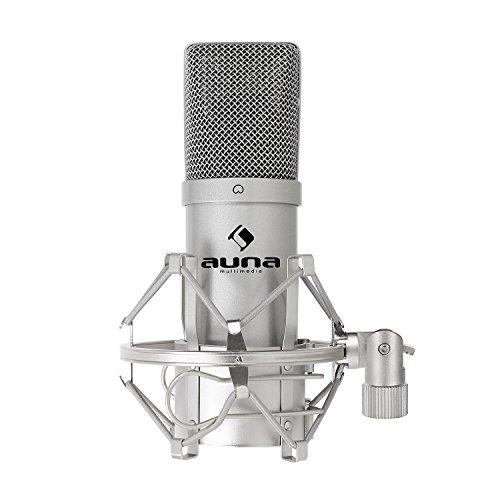 auna MIC-900S micrófono de condensador USB (soporte de araña, Plug & Play PC o Mac, cardioide, radio) - plateado