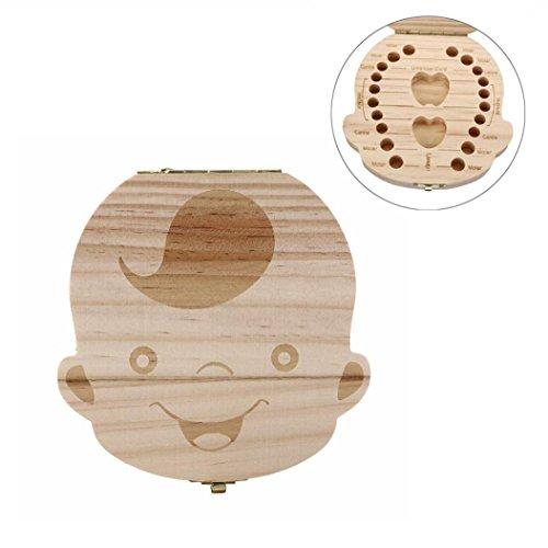 Tefamore Milchzähne-Box aus Holz Zahn Album Andenken Souvenir Box Organizer (Junge) Andenken-box Für Jungen