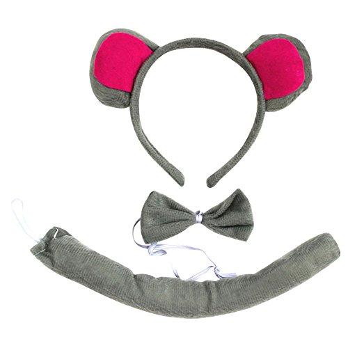 Maus Stirnband Ohren Kostüm (Cheerlife Tierische Cosplay Ohren Stirnband+Krawatte+Schwanz Tierset Weihnachten Halloween Karneval Kostüm Zubehör)