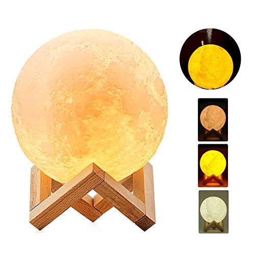 3D Mondlampe Luftbefeuchter, 13cm / 5,1 Zoll LED Mond Mondlicht Nebelscheinwerfer Luftbefeuchter Diffusor [USB Charging] Home Decor Weihnachtsgeschenk für Kinder, Kinder, Freunde