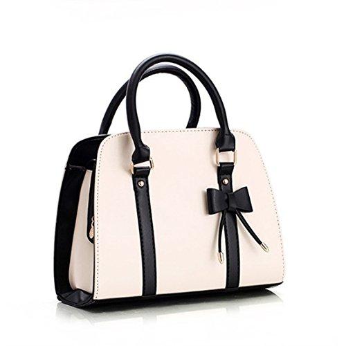 - 41 2BMViOj 2BxL - Whoinshop Women's Bow-knot Designer Style Shoulder Handbag Top Handle Bag White